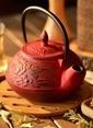 Bambum Taşev Linden - Nergis 800 ml Kırmızı Döküm Çaydanlık  Renkli